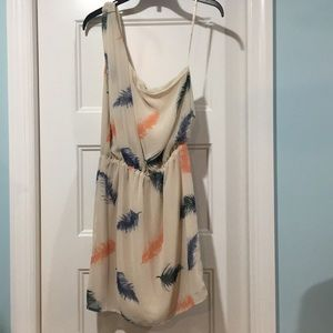 Off white multi colored feather dress